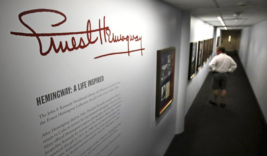 "A visitor views the ""Ernest Hemingway: A Life Inspired"" exhibition at the John F. Kennedy Presidential Library and Museum in Boston on Thursday."
