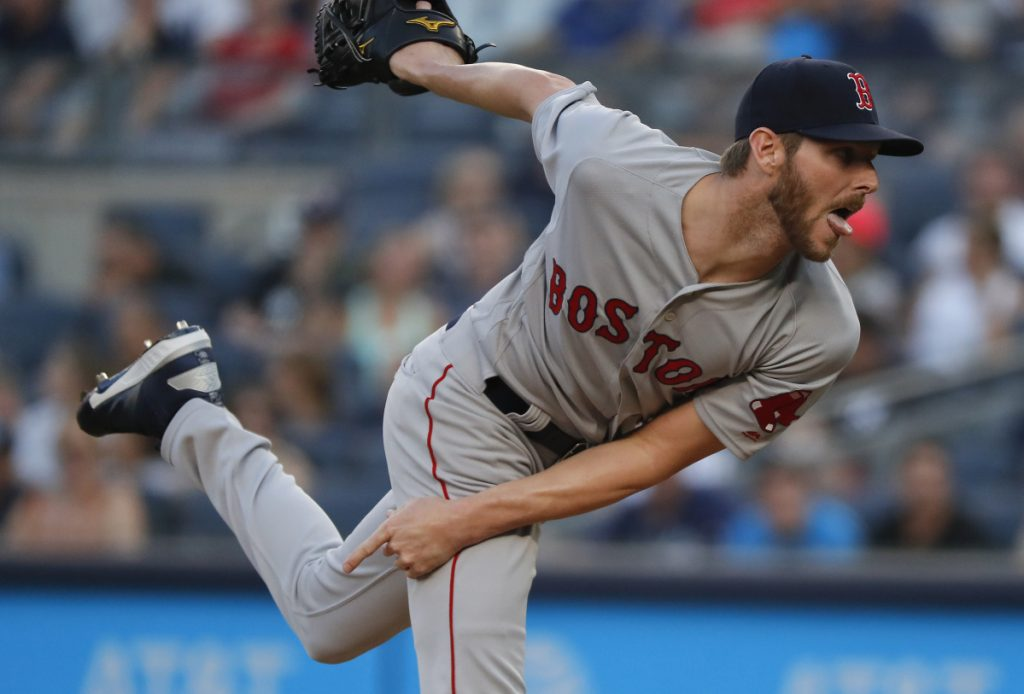 Boston Red Sox starting pitcher Chris Sale delivers against the New York Yankees during the first inning of a baseball game, Saturday, June 30, 2018, in New York. ()