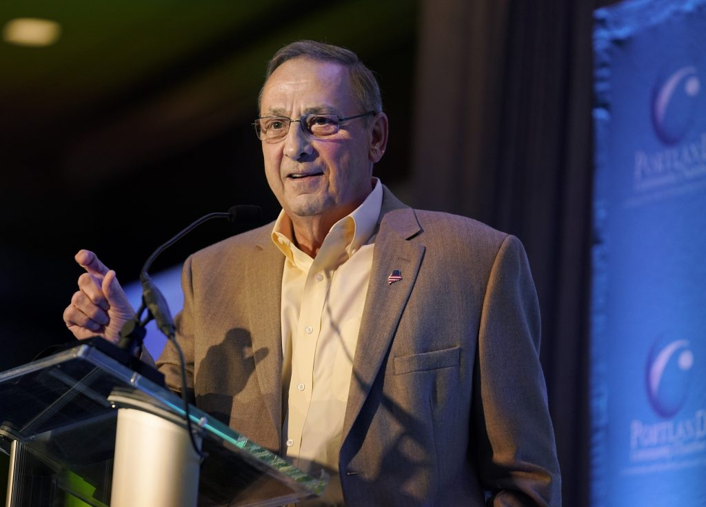 "Gov. Paul LePage, seen speaking in Portland in June, said Monday, ""I have a house in Florida. I will pay no income tax and the house in Florida's property taxes are $2,000 less than we were paying in Boothbay. ... At my age, why wouldn't you conserve your resources and spend it on your family instead of on taxes?"""
