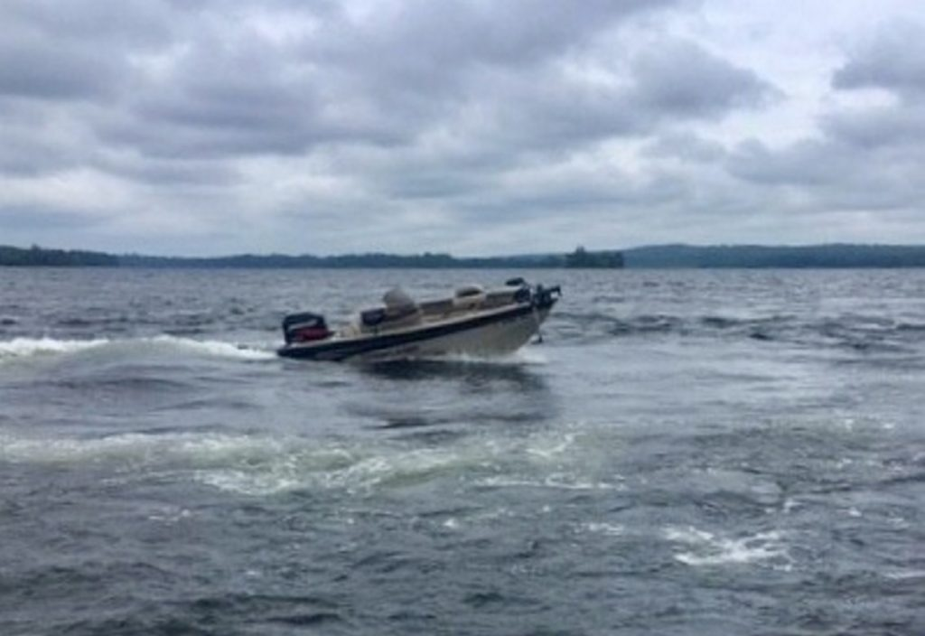A Maine game warden took this photo of George Bonney's motorboat moving in circles on Great Pond Thursday.