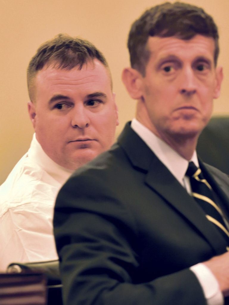 Jeremy Clement, left, watches with his attorney, Walter McKee, as witnesses approach the stand May 21 during the first day of Clement's trial on charges of attempted murder in Kennebec County Superior Court. Clement is scheduled to be sentenced Monday.