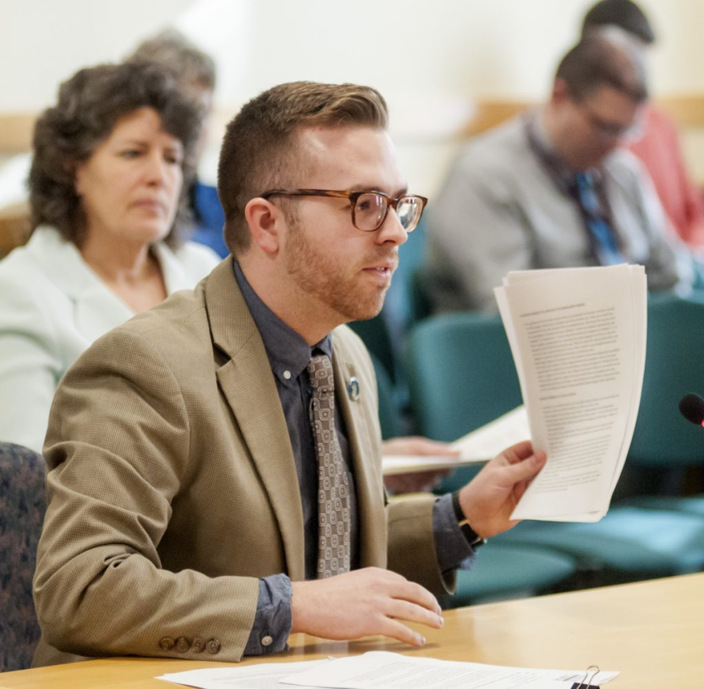 Rep. Ryan M. Fecteau, D-Biddeford, asks the Government Oversight Committee to look into the rollout of the new state unemployment compensation software during an meeting March 23 in the Burton M. Cross State Office Building in Augusta. The investigation awaits a green light from the committee, which is scheduled to meet on Thursday.