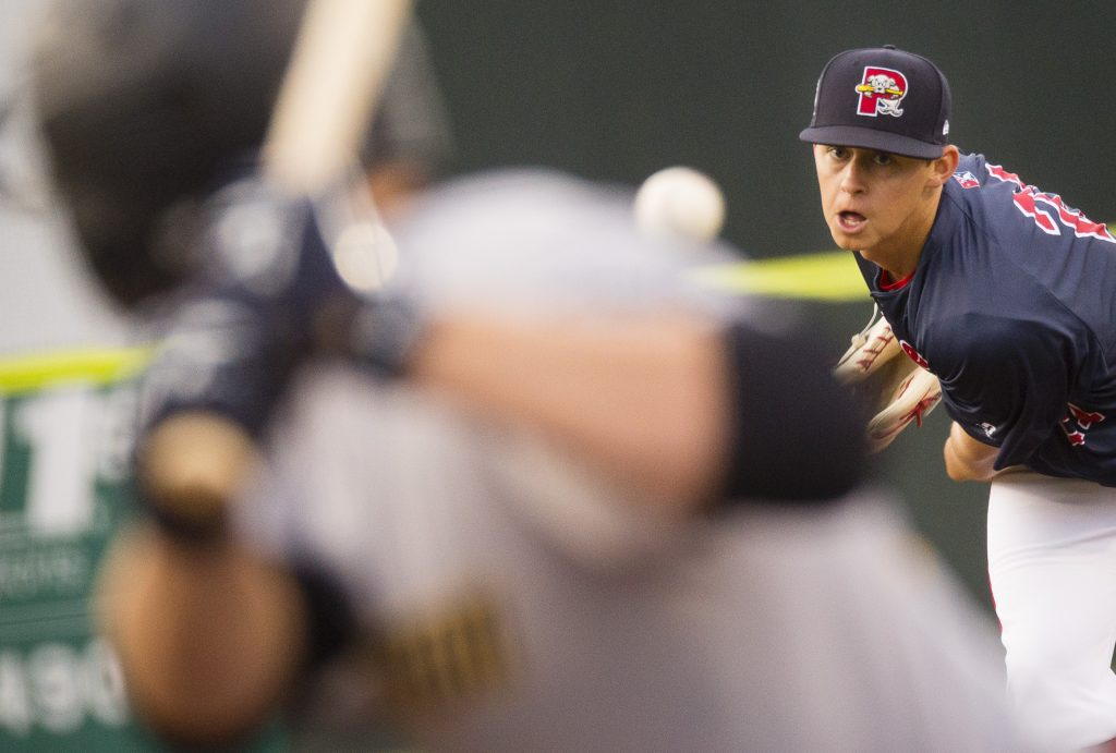 Portland pitcher Matt Kent delivers a pitch to Trenton in Friday night's game at Hadlock Field. Kent allowed one run in six innings to win his second straight start.