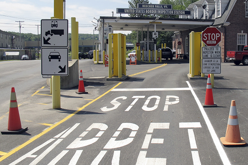 The U.S. border crossing post at the Canadian border between Vermont and Quebec, Canada, at Beecher Falls, Vt., is shown in August 2017. An organization that promotes economic development in areas near the Canadian border is expanding the areas eligible to receive the assistance.