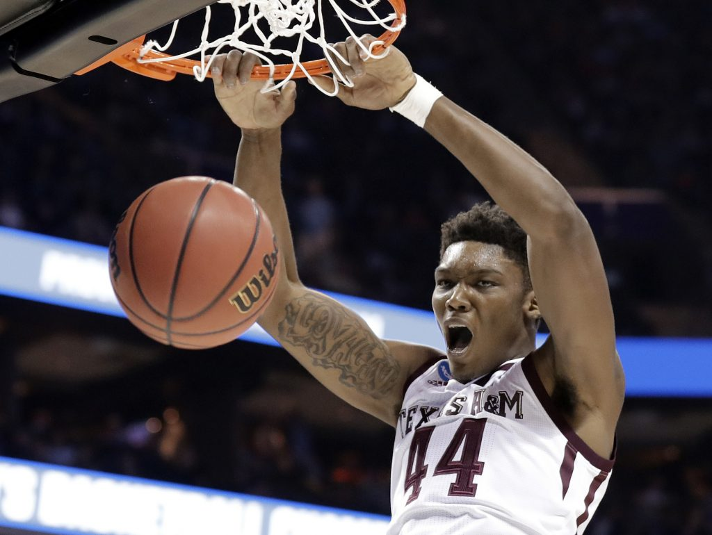 Texas A&M's Robert Williams was selected by the Celtics Thursday night with the 27th pick in the NBA draft.