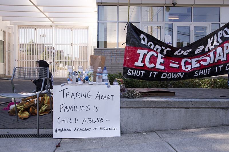 ICE headquarters in Portland, Ore. where round-the-clock vigil was being held on Tuesday.