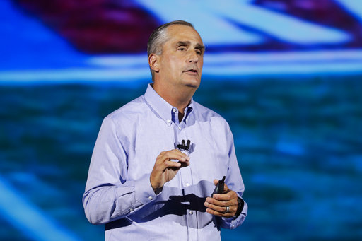 Intel CEO Brian Krzanich delivers a keynote speech at CES International on Jan. 8, 2018, in Las Vegas.
