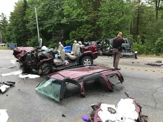 Police work at the scene of the fatal crash on June 5 in Casco.