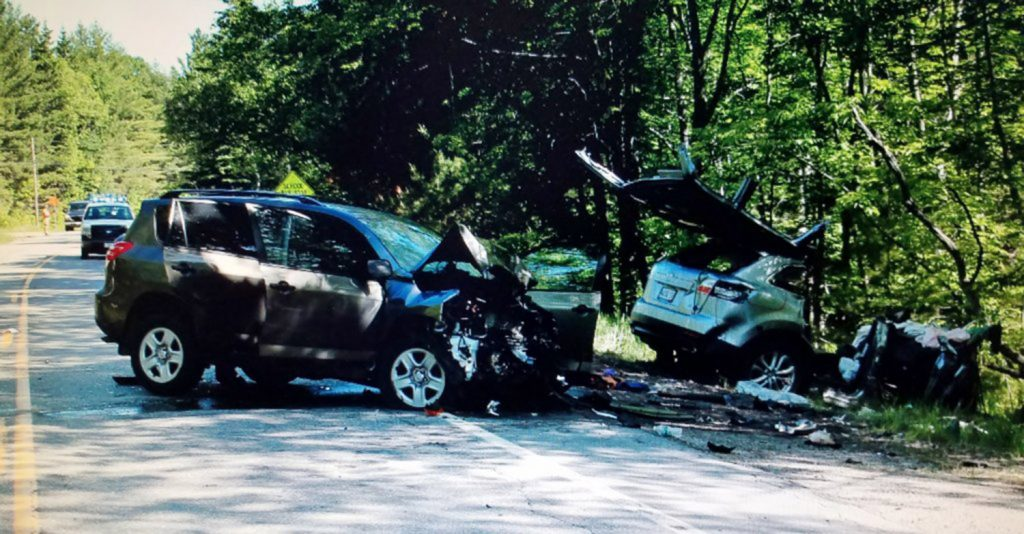 Three people were seriously injured Sunday when an SUV driven by Andrew Brockelman, 22, of Boxford, Massachusetts, and a vehicle driven by Richard Spiess, 75, of Southwest Harbor, collided head-on on Carrabassett Drive, also known as routes 27 and 16, in Carrabasett Valley, according to police.