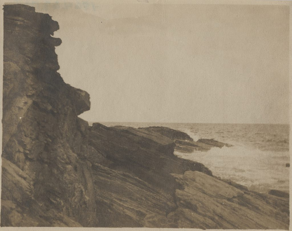 """Cliff at Prouts Neck,"" ca. 1885, albumen silver print by Winslow Homer."