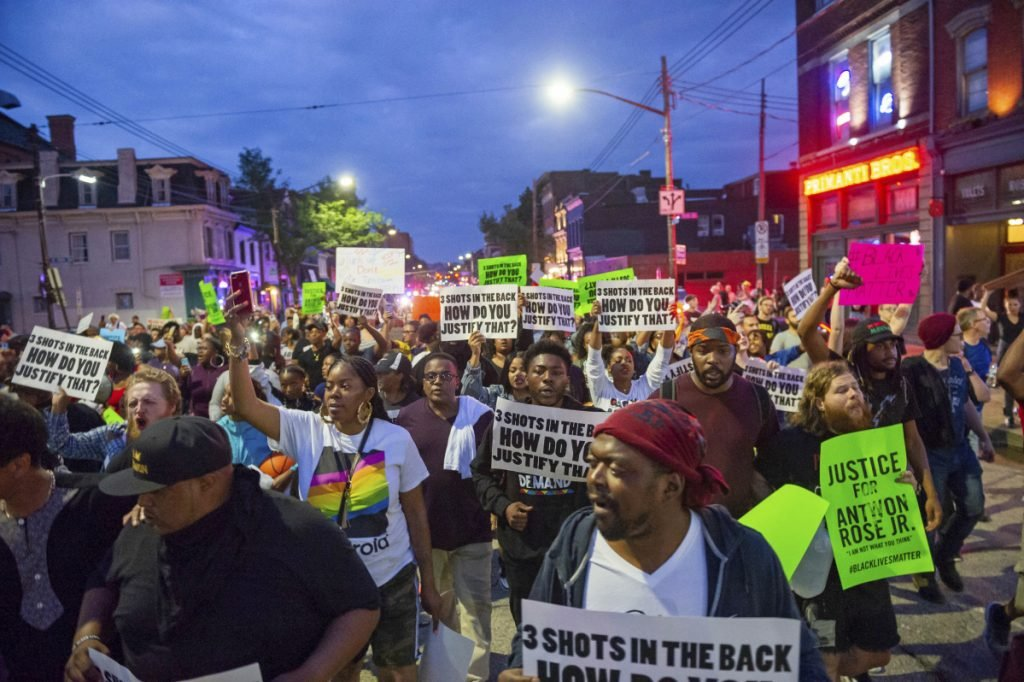 Demonstrators protesting the fatal police shooting of Antwon Rose Jr. march through the South Side section of Pittsburgh on June 23. The police shooting of Rose as he fled during a traffic stop on June 19 is the first in the Pittsburgh area in the Black Lives Matter era.