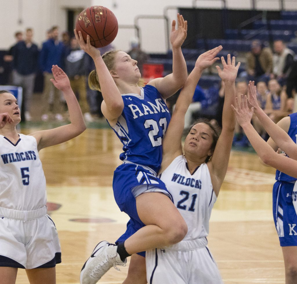 Emily Archibald's freshman season in basketball included a triple-double against Falmouth with 21 points and 10 blocked shots to go with 23 rebounds, which broke the school record for rebounds for the second time in the season.