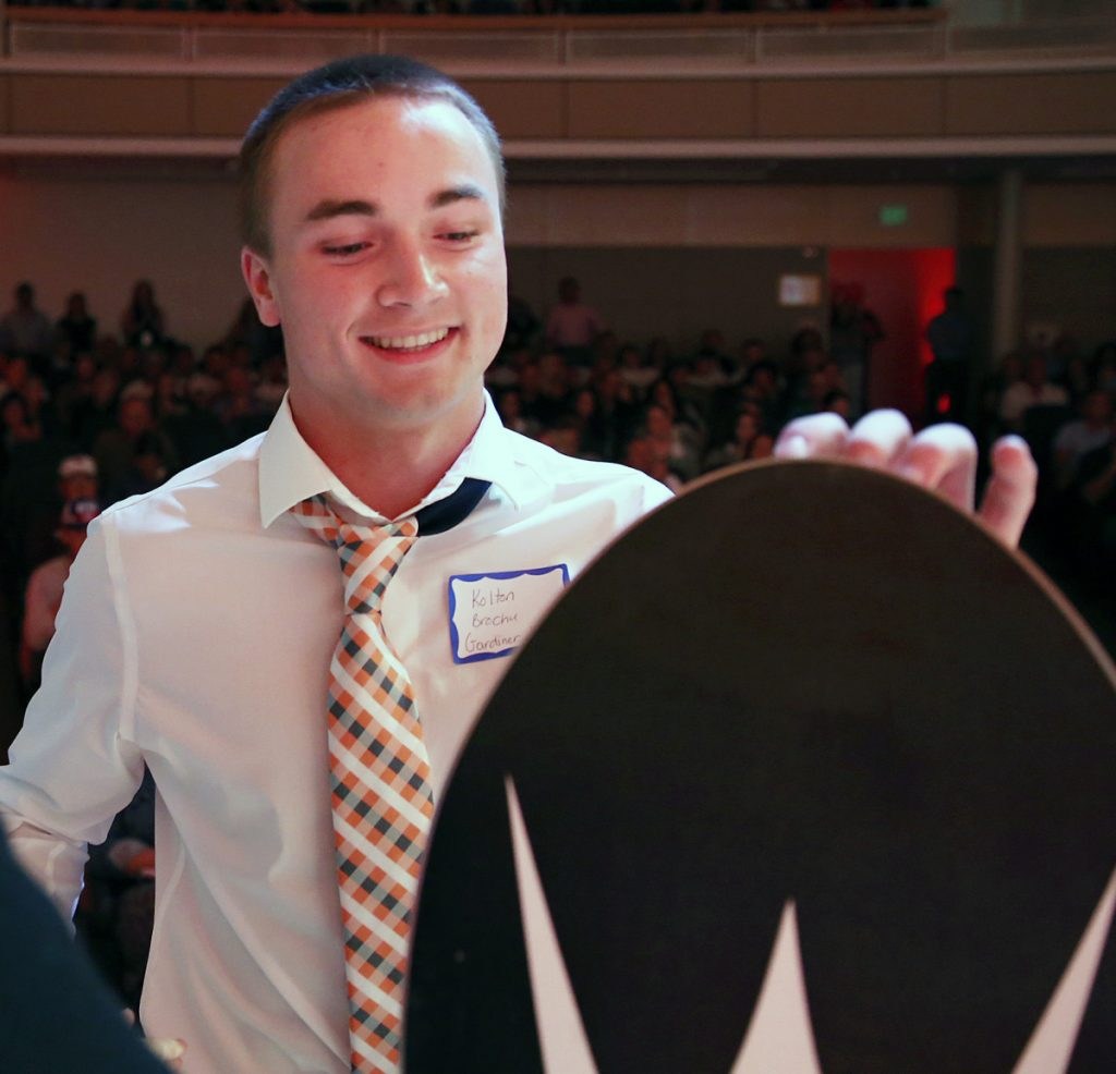 Kolton Brochu of Gardiner received the Beyond the Box Score award at the Varsity Maine Awards in recognition for his success as a football and baseball player while dealing with Type 1 diabetes.