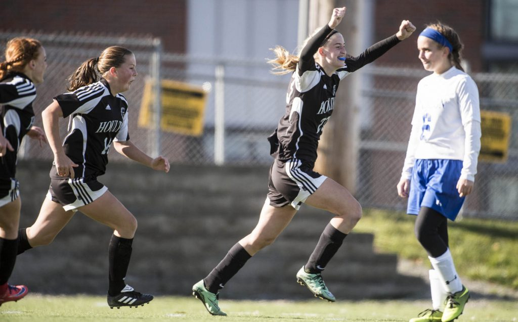 Houlton's Kolleen Bouchard celebrates after she scored a goal in the second half of the Class C girls' soccer state championship game last fall against Madison.