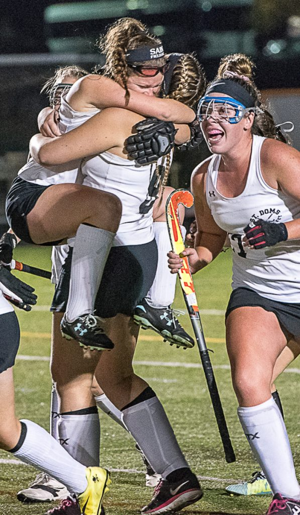 After a dominant regular season, the St. Dom's field hockey team showed it could win tight games, too, capturing the Class C title in double overtime.