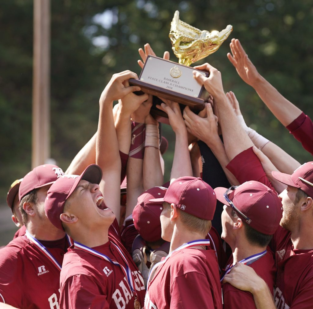 For the fifth year in a row, Bangor baseball players hoisted the state championship trophy after their 10-6 victory over Gorham in the Class A final at St. Joseph's College.