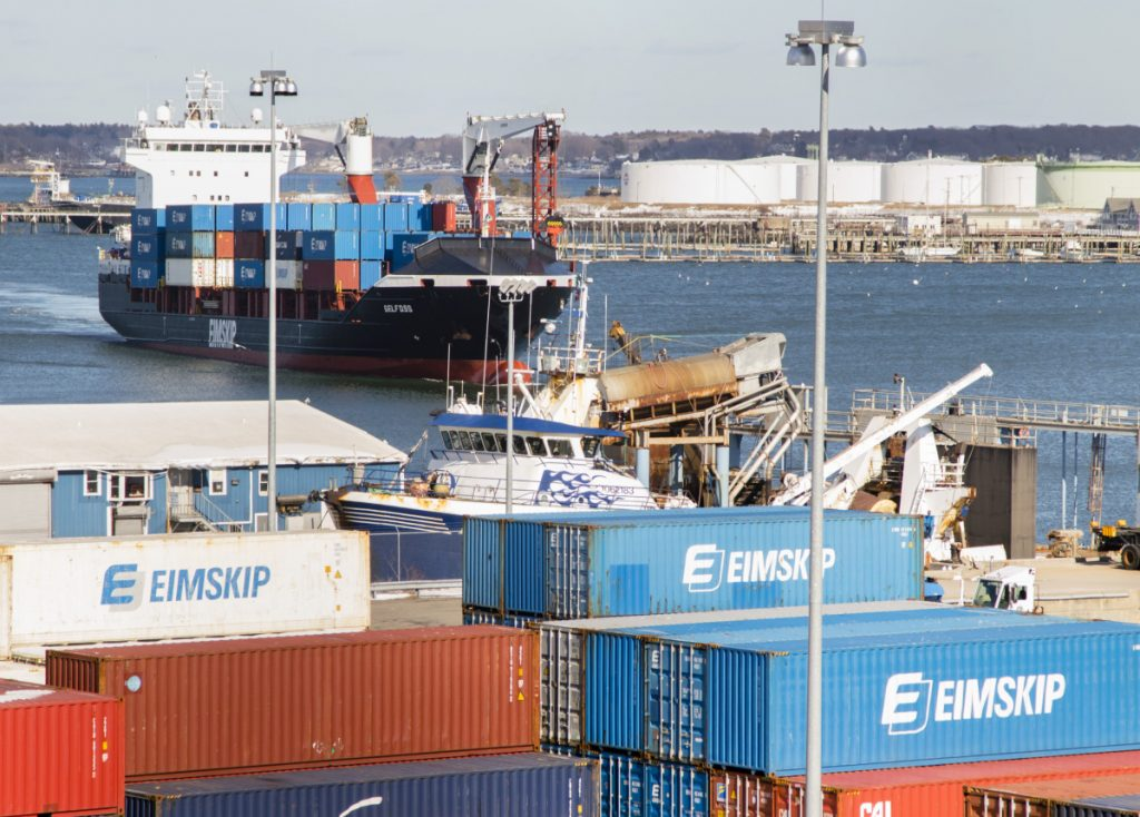 An Eimskip container ship arrives at the port in Portland. A reader says a smaller cold-storage building is more in line with the needs of Eimskip and the port.