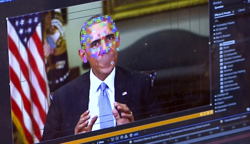 "This image shows elements of facial mapping used to make videos of real people appearing to say things they've never said. Concern is growing that U.S. adversaries will use new technology to make ""deepfake"" videos to sway political campaigns or jeopardize national security."