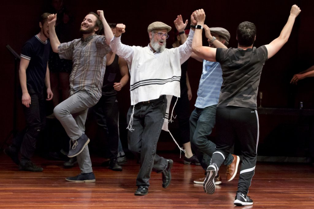"""The National Yiddish Theatre Folksbiene cast of a Yiddish-language production of """"Fiddler on the Roof"""" rehearses in New York."""