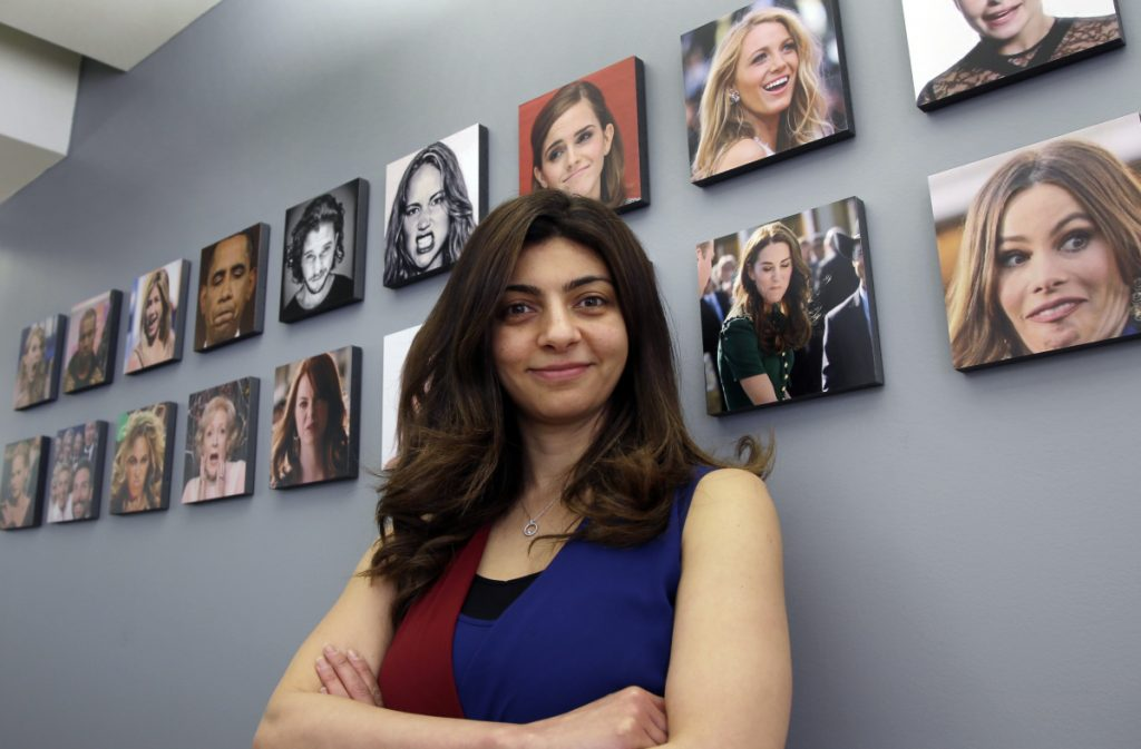 "The Boston-based artificial intelligence firm Affectiva, led by CEO Rana el Kaliouby, above, builds face-scanning technology for detecting emotions, but its founders decline business opportunities that involve spying on people. The company has shunned ""any security, airport, even lie detection stuff,"" el Kaliouby said."
