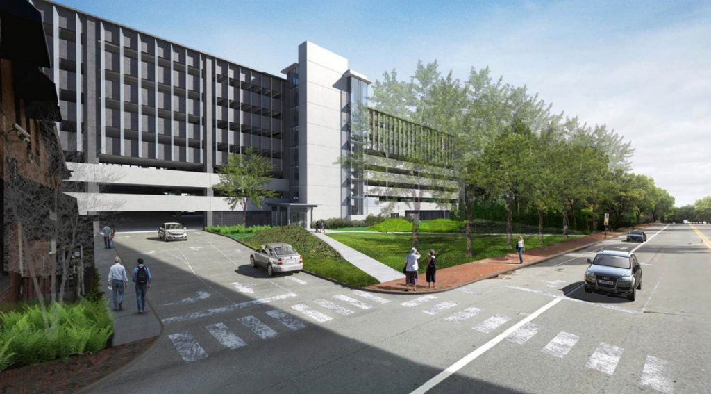 A rendering shows Maine Med's site plan for a parking garage on St. John Street.