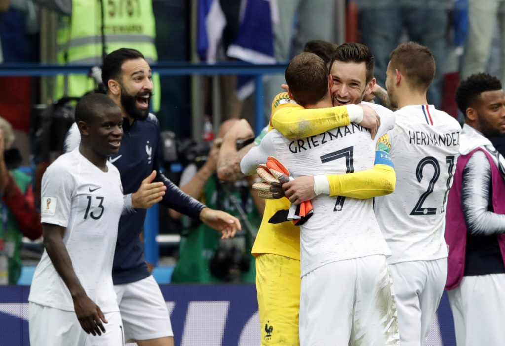 French players celebrate at the end of their quarterfinal match against Uruguay in Nizhny Novgorod, Russia, on Friday. (AP Photo/Ricardo Mazalan)