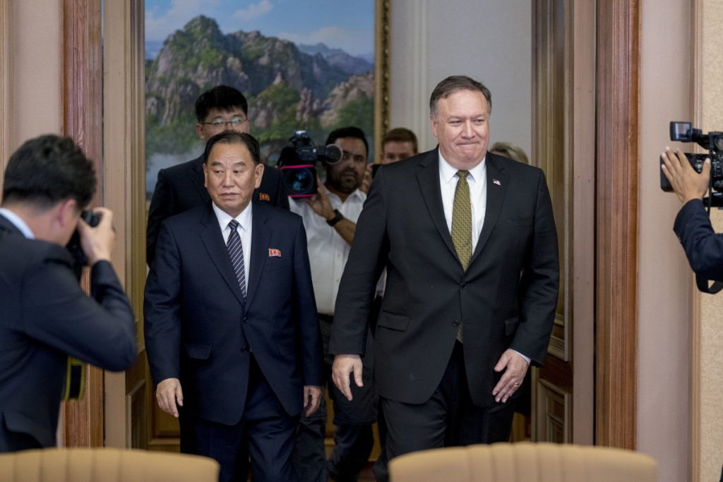 U.S. Secretary of State Mike Pompeo, right, and Kim Yong Chol, left,  in Pyongyang, North Korea, on Saturday.