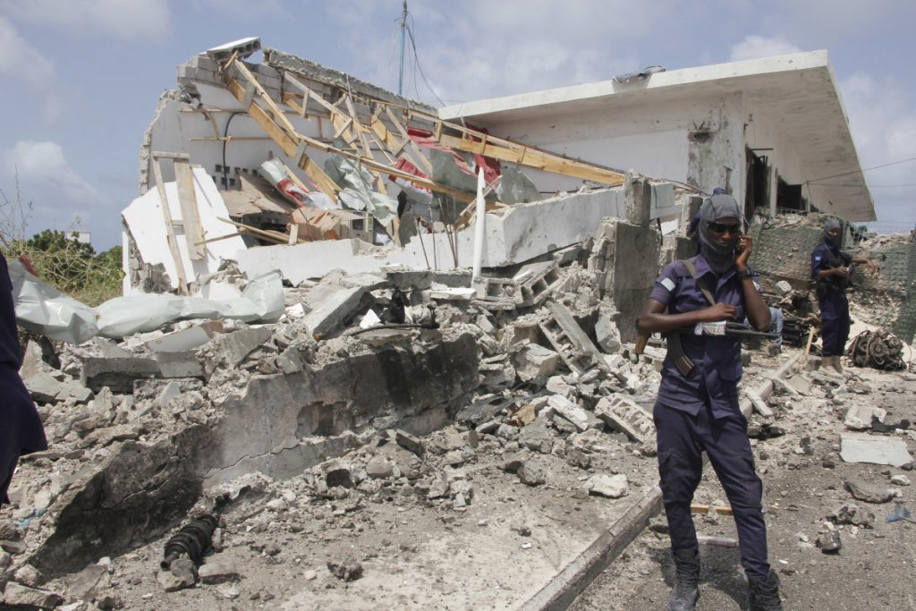 Destruction is shown after the blast in Mogadishu, Somalia, on Saturday.