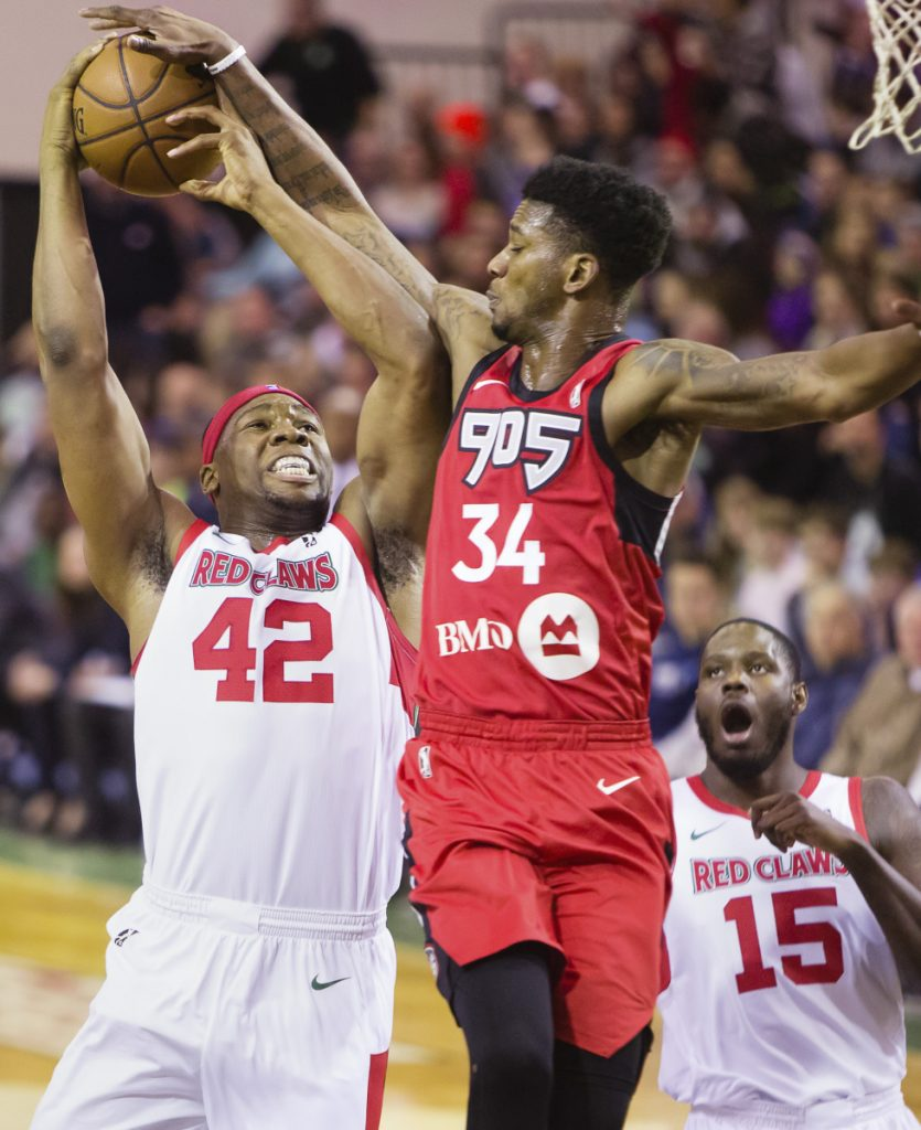 Guerschon Yabusele, left, played 14 games with the Maine Red Claws in the 2017-18 season, averaging 20.3 points and 7.9 rebounds per game.