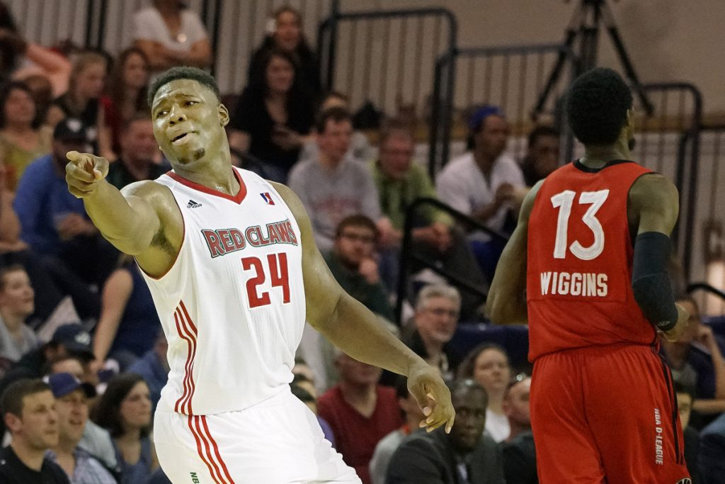 PORTLAND, ME - APRIL 16: Guerschon Yabusele of the Red Claws points back to teammate Malcolm Miller (not pictured) after a miscommunication between the two resulted in a second half turnover during a loss to the 905 Raptors in an NBA D-League playoff game Sunday, April 16, 2017. (Staff Photo by Gabe Souza/Staff Photographer)