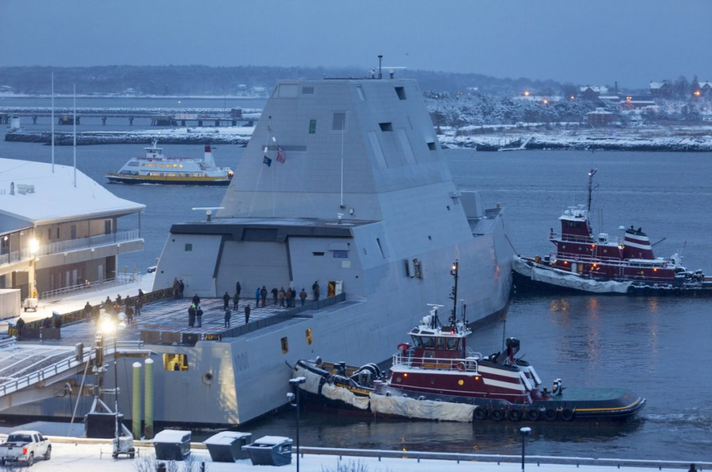 The future USS Michael Monsoor from Bath Iron Works docks in Portland Harbor in January 2018 as part of its sea trials.