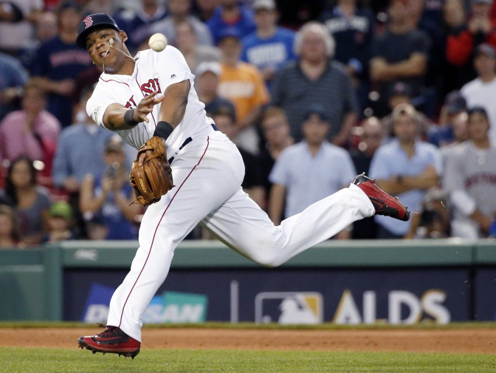 Boston Red Sox third baseman Rafael Devers, who is batting .241 with 14 homers this season, has been placed on the 10-day disabled list. (AP Photo/Michael Dwyer)