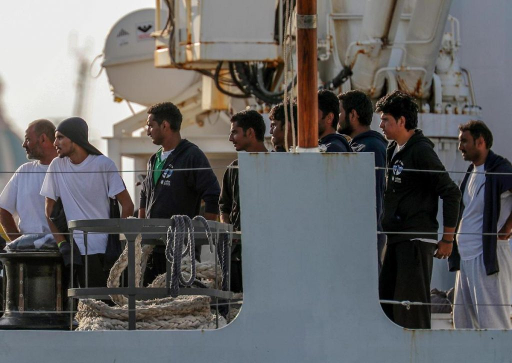 The Diciotti, with 67 migrants on board, is moored in the Sicilian port of Trapani, in southern Italy, on Thursday.