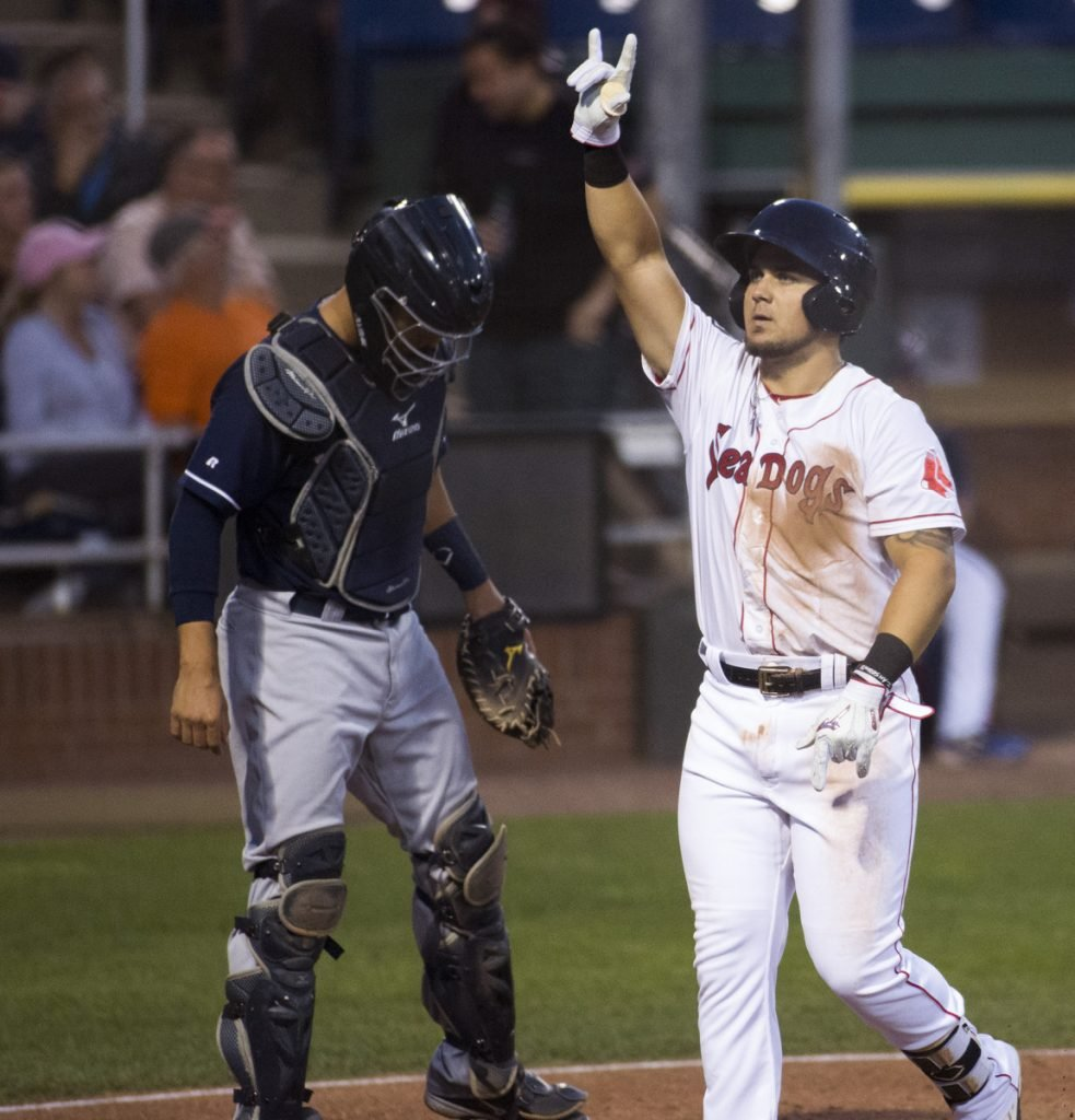Michael Chavis, playing at Hadlock Field for the first time this season following an 80-game suspension, celebrates Thursday night after hitting a home run against the New Hampshire Fisher Cats.