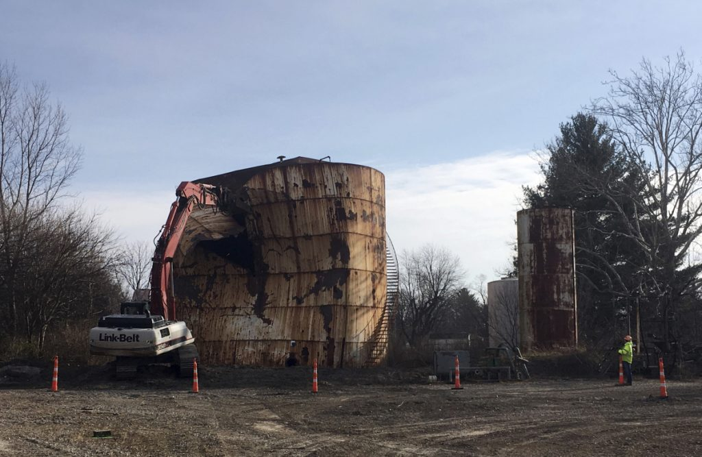 A tank at a Kiel Bros. facility is torn down in Indianapolis in 2017.