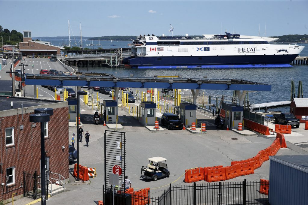Bay Ferries' high-speed Cat, which currently links Portland to Yarmouth, Nova Scotia, is moored Wednesday along the waterfront. City officials say if Portland were to lose the ferry service, the valuable real estate between the Maine State Pier and Ocean Gateway could be repurposed.