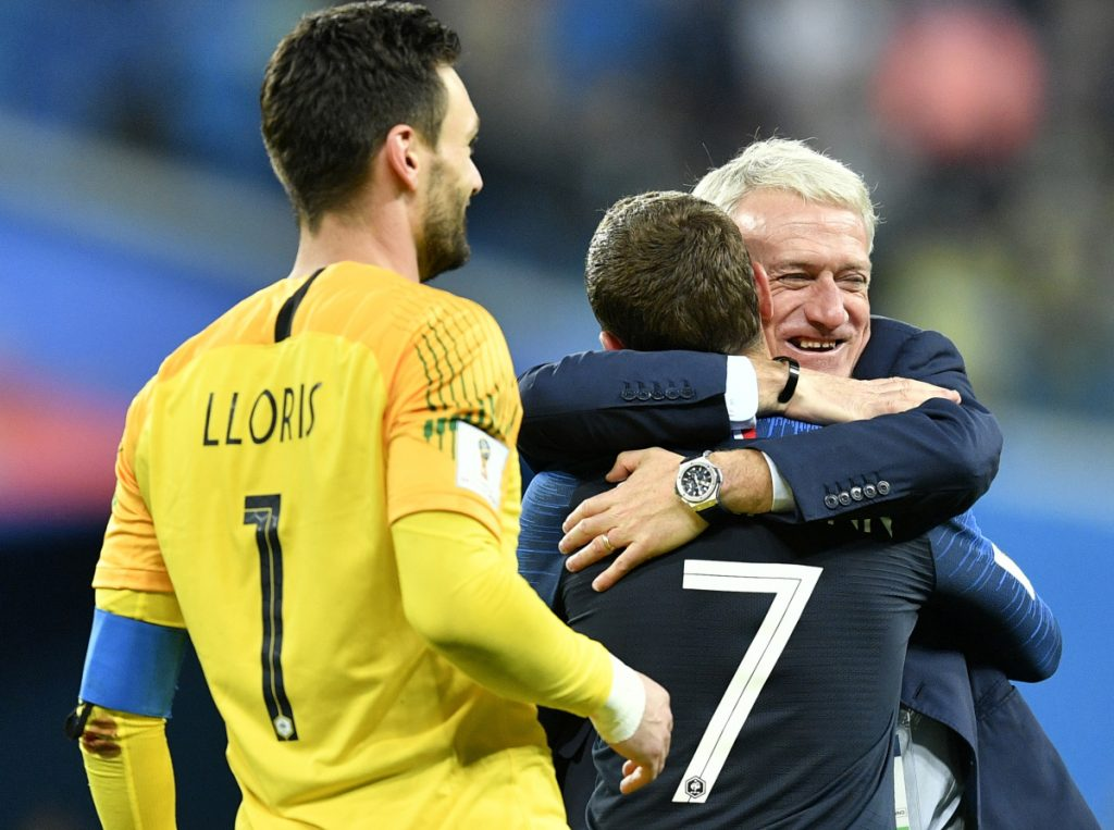 France Coach Didier Deschamps, hugging Antoine Griezmann after the French advanced to the final, placed an emphasis on choosing players who could get along for a month, along with having the necessary talent.