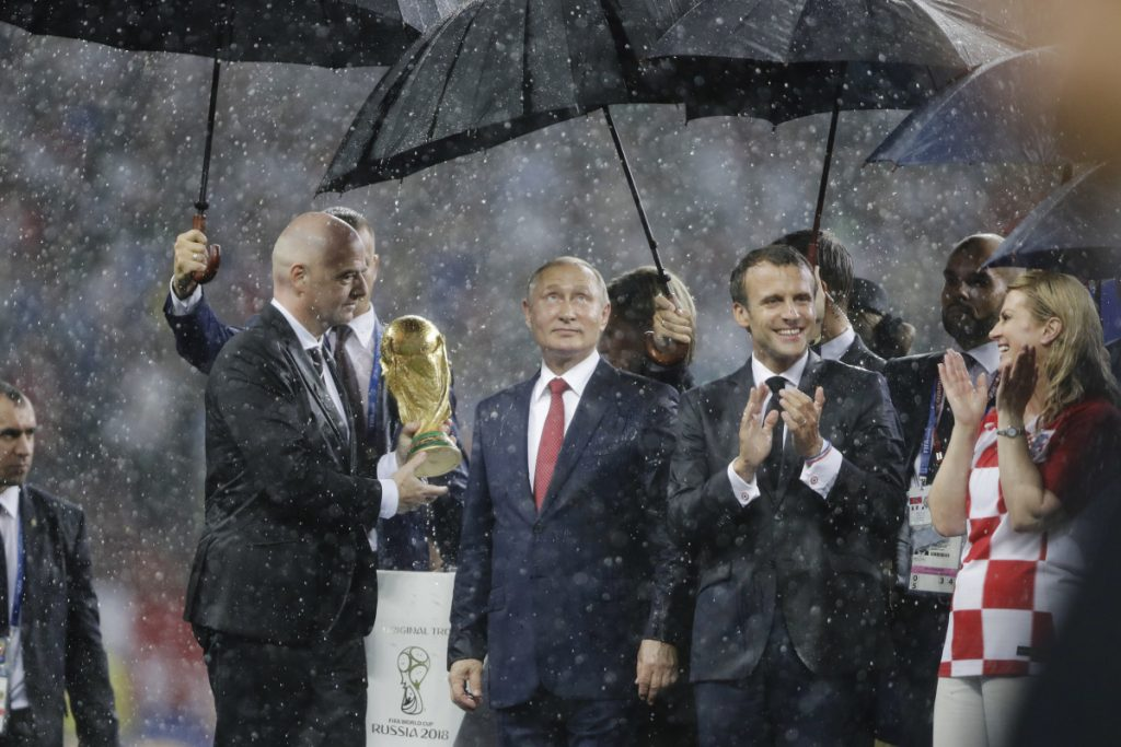 From left, FIFA President Gianni Infantino, Russian President Vladimir Putin, French President Emmanuel Macron and Croatian President Kolinda Grabar-Kitarovic attend the  awards ceremony at the World Cup, which Russia hosted.