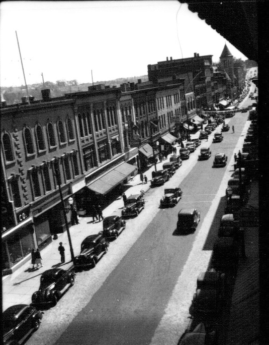 This photo looking south on Water Street in downtown Augusta was taken about 1940. Downtown merchants and leaders of the Augusta Downtown Alliance say restoring two-way traffic will help revitalize the downtown.