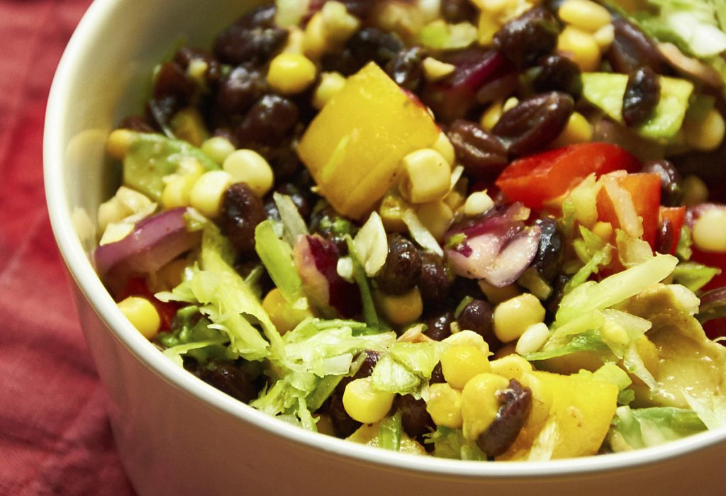 This salad is substantial, colorful and rich in protein. And it's a meal in itself.