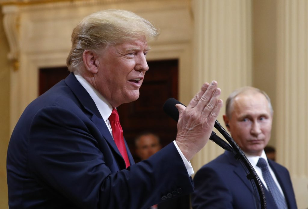President Trump and Russian President Vladimir Putin hold a news conference Monday after their meeting in Helsinki, Finland. A letter writer says it's time to get rid of the Russian agent Trump.