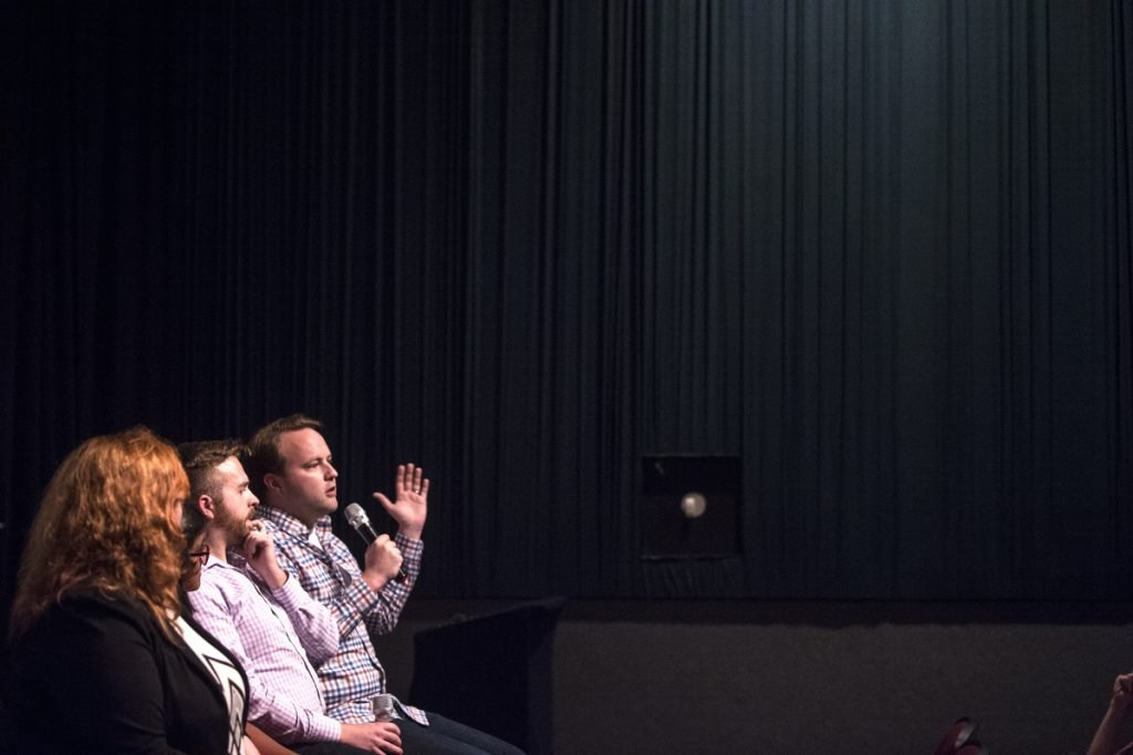 "Rep. Matt Moonen, D-Portland and director of Equality Maine, speaks during a panel discussion Tuesday after a screening of the film ""The Miseducation of Cameron Post"" at the Maine International Film Festival in Waterville. The film addresses conversion therapy, a practice that attempts to change a person's sexual orientation or gender identity."