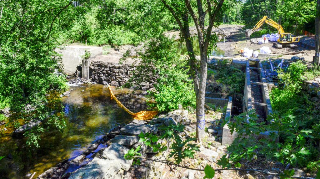The Coopers Mills dam was built about 200 years ago but has deteriorated recently. The project to remove it aims to preserve some of the history surrounding historic dams and mills while enhancing public access.