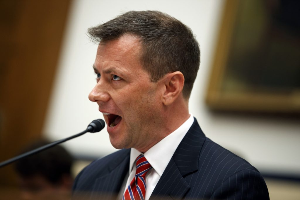 FBI agent Peter Strzok testifies at a hearing July 12. A reader says the anti-conservative media are quick to defend those with liberal values.