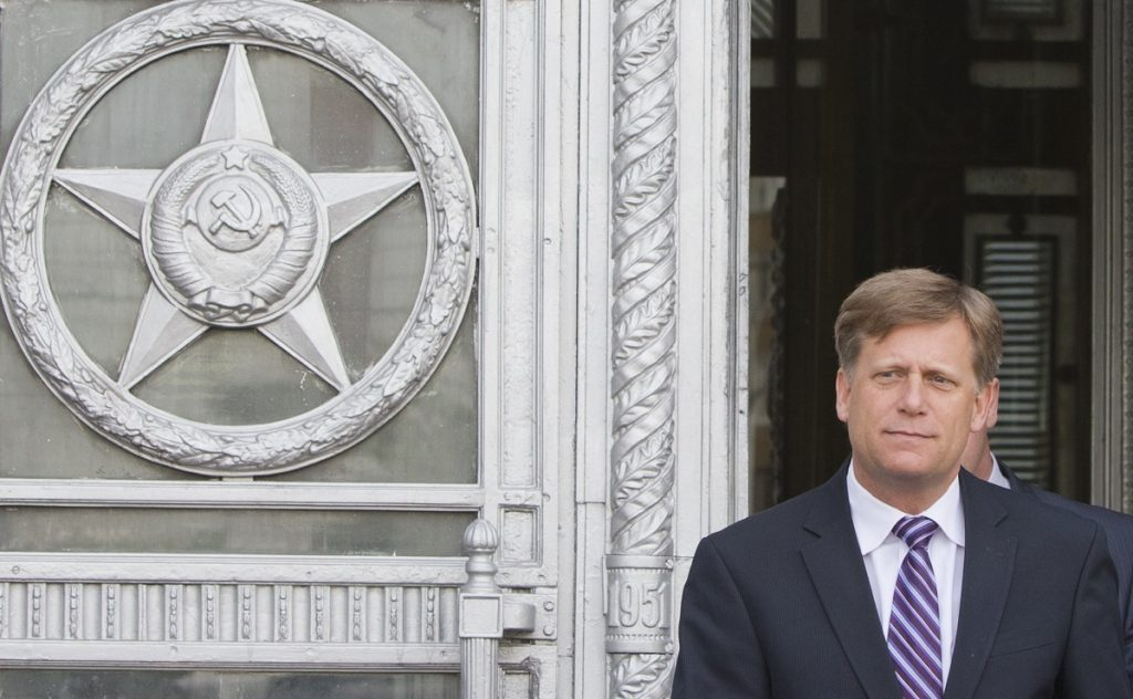 Ambassador to Russia Michael McFaul leaves the Foreign Ministry in Moscow in 2013. McFaul recounts in a book how he was harassed by Russian authorities.