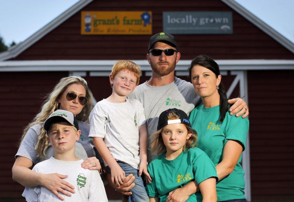 Seen at the late patriarch's farm in Saco, members of the Grant family include, clockwise from bottom left, Cameron O'Donnell, Vanessa Grant, Richard Grant, Ben Grant, Julie Grant and Neveah Hagerman. A dispute over the estate forced the sale of the property.