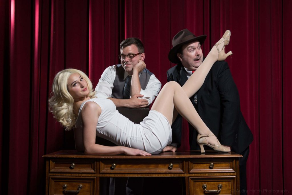 """""""If You've Got It Flaunt It"""" with Elizabeth Lester as Ulla, Miles Gervais as Leopold Bloom and Brian McAloon as Max Bialystock."""