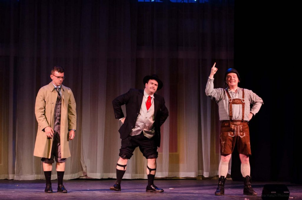 """""""The Gutentag Hop Clop"""" with Miles Gervais as Leopold Bloom, Brian McAloon as Max Bialystock and Caleb Lacey as Franz Leibkind."""