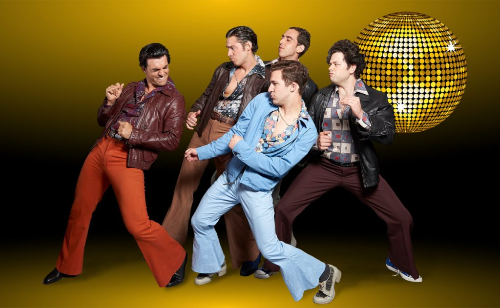 "Jacob Tischler as Tony, Anthony J. Gasbarre III as Joey; Nic Casaula as Gus, Drew Carr as Bobby and Casey Shane as Double in Maine State Theatre's production of ""Saturday Night Fever."""