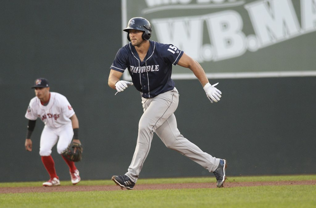 Tim Tebow of the Binghamton Rumble Ponies takes a lead on second base at against the Sea Dogs at Portland's Hadlock Field on July 2. Tebow is having surgery Tuesday after breaking a bone in his right hand, (Staff photo by Shawn Patrick Ouellette/Staff Photographer)